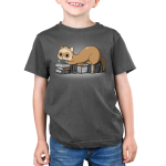 Nerdy and Proud Kid's t-shirt model TeeTurtle dark gray t-shirt featuring a ferret sitting on a pile of books playing a hand held video game
