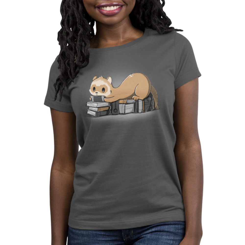 Nerdy and Proud Women's t-shirt model TeeTurtle dark gray t-shirt featuring a ferret sitting on a pile of books playing a hand held video game