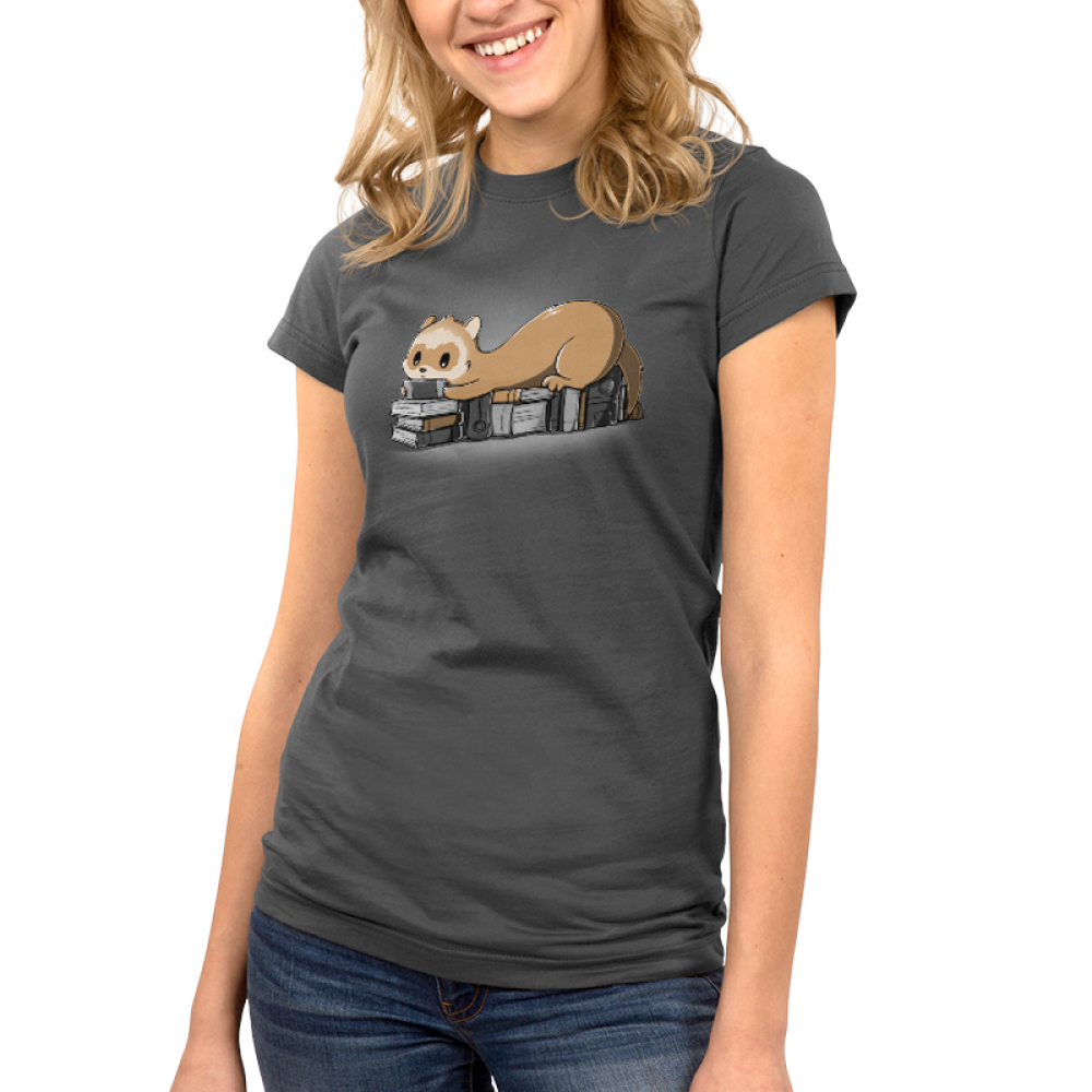 Nerdy and Proud Junior's t-shirt model TeeTurtle dark gray t-shirt featuring a ferret sitting on a pile of books playing a hand held video game