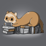Nerdy and Proud t-shirt TeeTurtle dark gray t-shirt featuring a ferret sitting on a pile of books playing a hand held video game