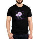Epic Amethyst Men's t-shirt model officially licensed black Steven Universe t-shirt featuring Amethyst with a purple whip