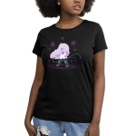 Epic Amethyst Women's t-shirt model officially licensed black Steven Universe t-shirt featuring Amethyst with a purple whip