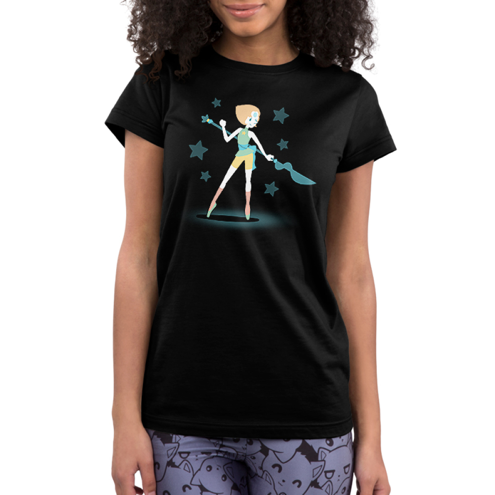 Epic Pearl Junior's t-shirt model officially licensed black Steven Universe t-shirt featuring Pearl with a long blue staff