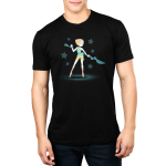 Epic Pearl Men's t-shirt model officially licensed black Steven Universe t-shirt featuring Pearl with a long blue staff