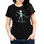 Epic Pearl Women's t-shirt model officially licensed black Steven Universe t-shirt featuring Pearl with a long blue staff