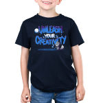Unleash Your Creativity Kid's t-shirt model navy TeeTurtle t-shirt featuring a wolf with a paint brush with a moon and glowing white paws in the background