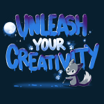 Unleash Your Creativity t-shirt navy TeeTurtle t-shirt featuring a wolf with a paint brush with a moon and glowing white paws in the background