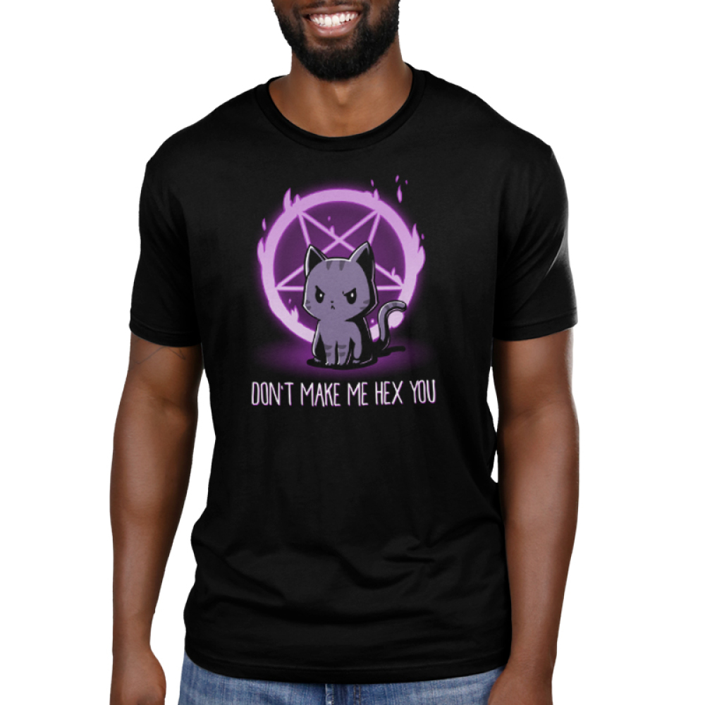 Don't Make Me Hex You Men's t-shirt model TeeTurtle black t-shirt featuring an angry looking cat with a purple pentagram on fire behind him