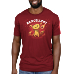 Rexcellent Men's t-shirt model TeeTurtle garnet red t-shirt featuring a concerned looking dinosaur with this thumbs up while flaming meteors fall behind him