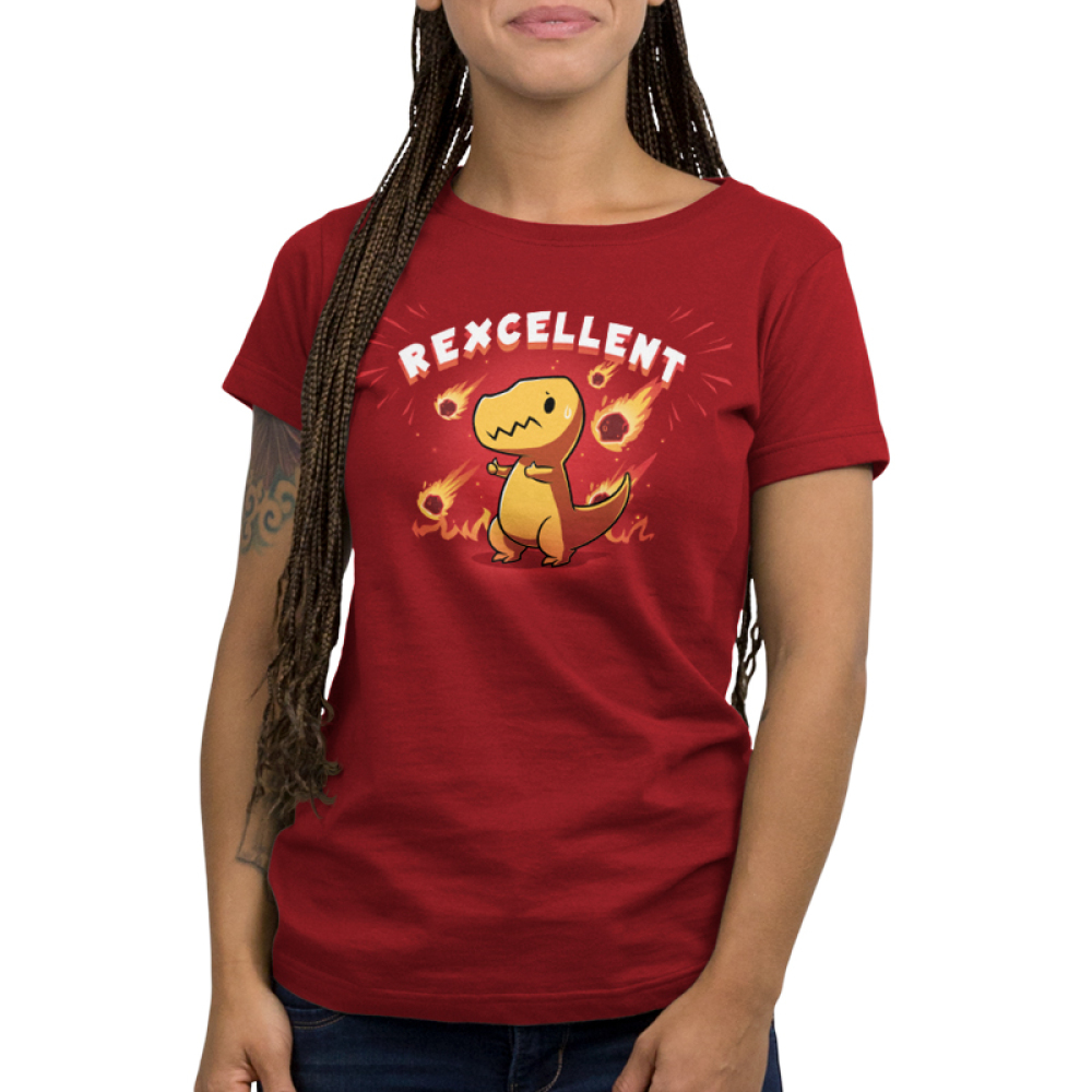 Rexcellent Women's t-shirt model TeeTurtle garnet red t-shirt featuring a concerned looking dinosaur with this thumbs up while flaming meteors fall behind him