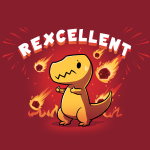 Rexcellent t-shirt TeeTurtle garnet red t-shirt featuring a concerned looking dinosaur with this thumbs up while flaming meteors fall behind him