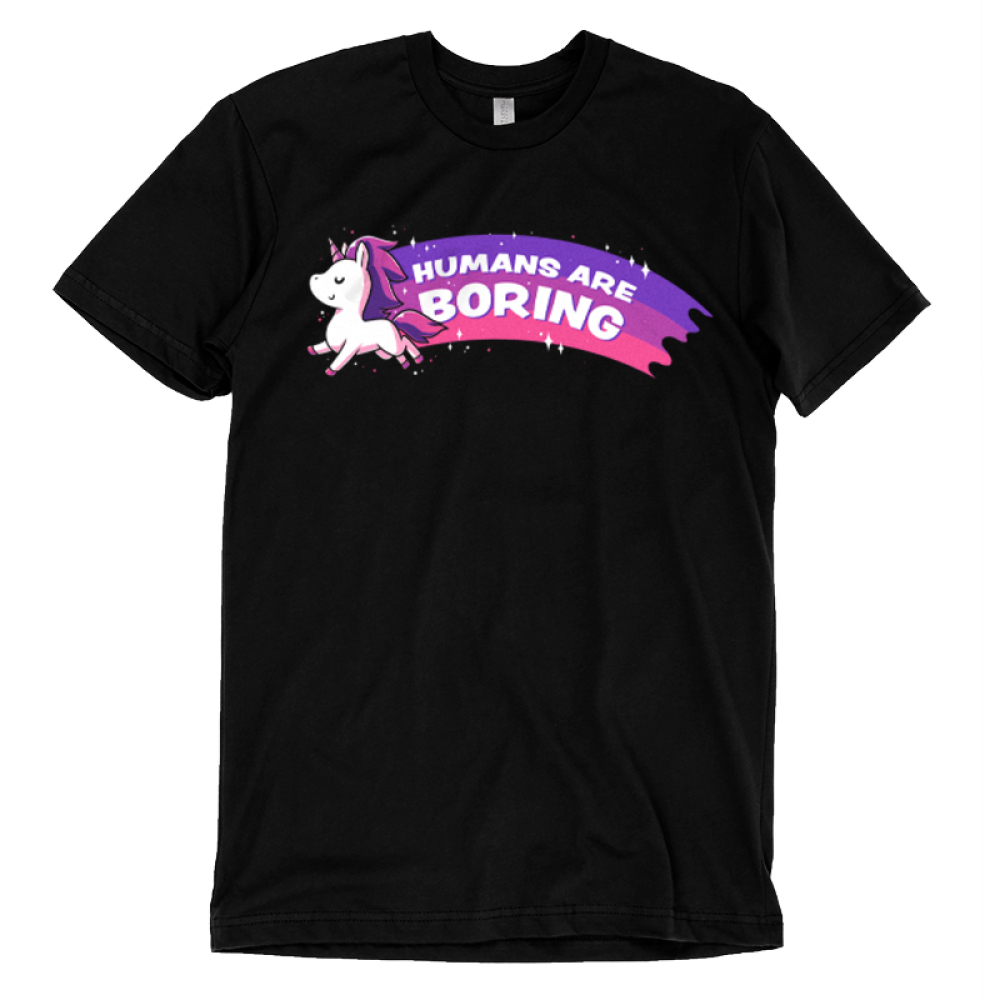Humans are Boring t-shirt TeeTurtle black t-shirt featuring a flying unicorn with a purple and pink rainbow training behind them