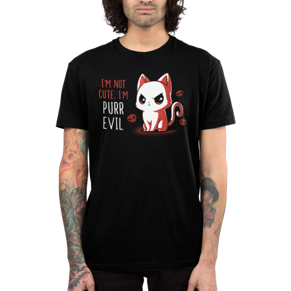 I'm Not Cute I'm Purr Evil Men's t-shirt model TeeTurtle black t-shirt featuring an angry looking cat with skulls behind him