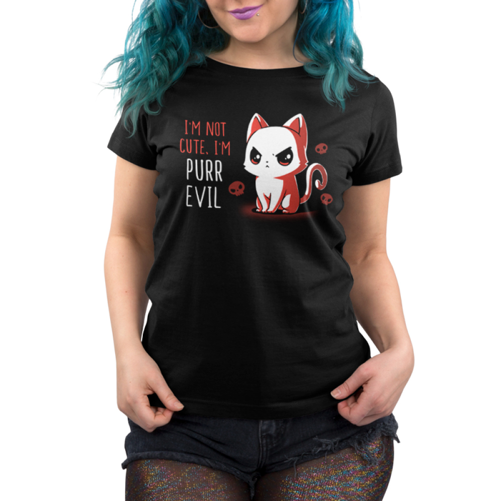 I'm Not Cute I'm Purr Evil Women's t-shirt model TeeTurtle black t-shirt featuring an angry looking cat with skulls behind him