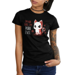 I'm Not Cute I'm Purr Evil Junior's t-shirt model TeeTurtle black t-shirt featuring an angry looking cat with skulls behind him