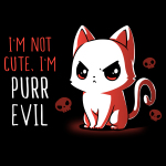 I'm Not Cute I'm Purr Evil t-shirt TeeTurtle black t-shirt featuring an angry looking cat with skulls behind him