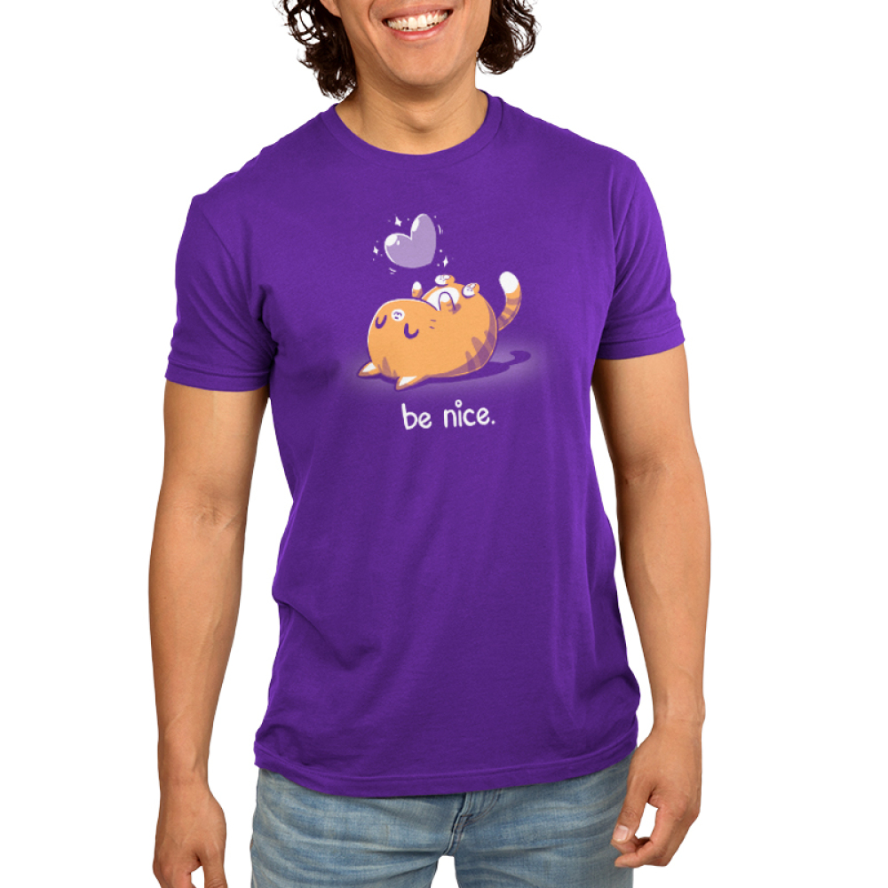 Be Nice Men's t-shirt model TeeTurtle purple t-shirt featuring an orange cat on its back smiling with a purple heart floating above her
