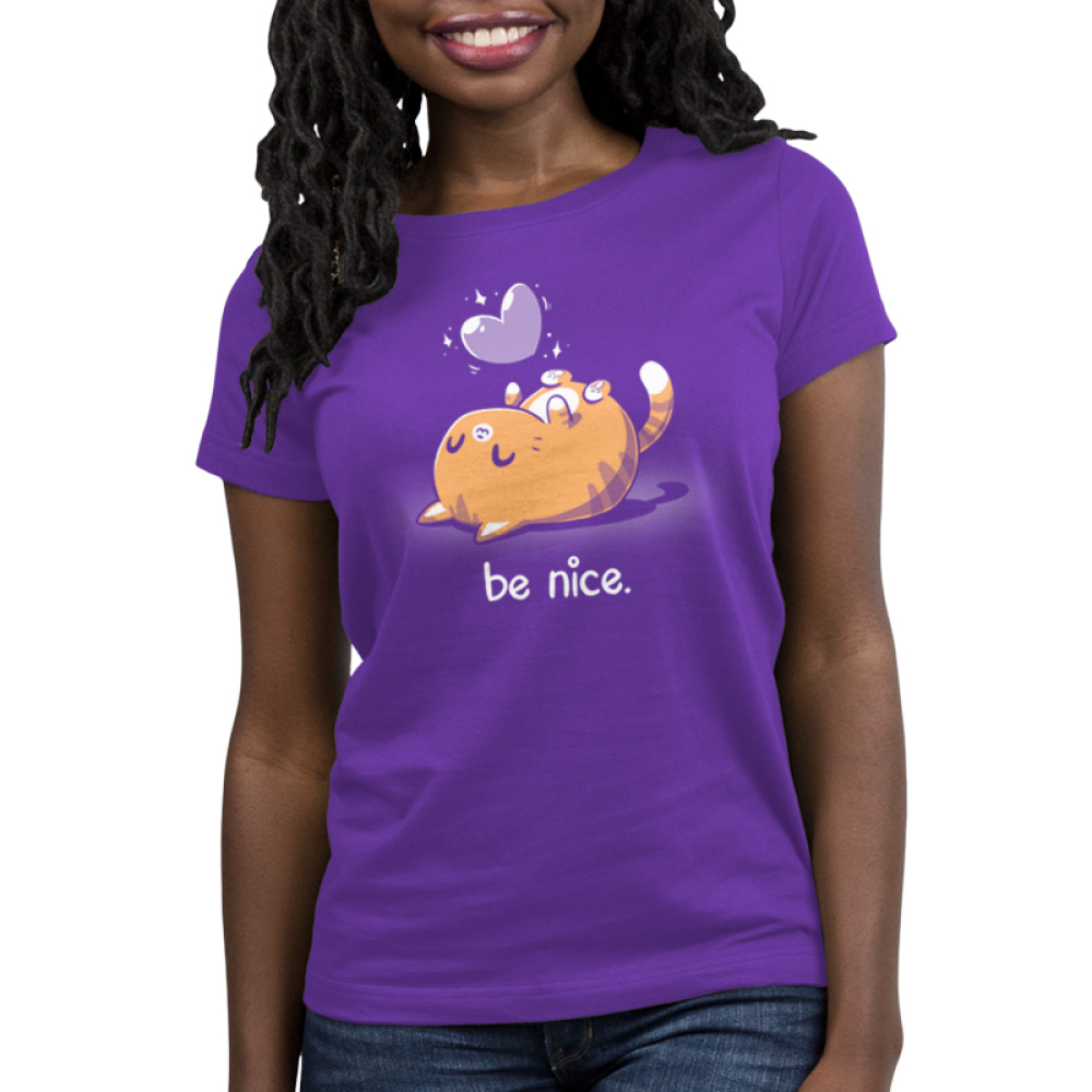 Be Nice Women's t-shirt model TeeTurtle purple t-shirt featuring an orange cat on its back smiling with a purple heart floating above her