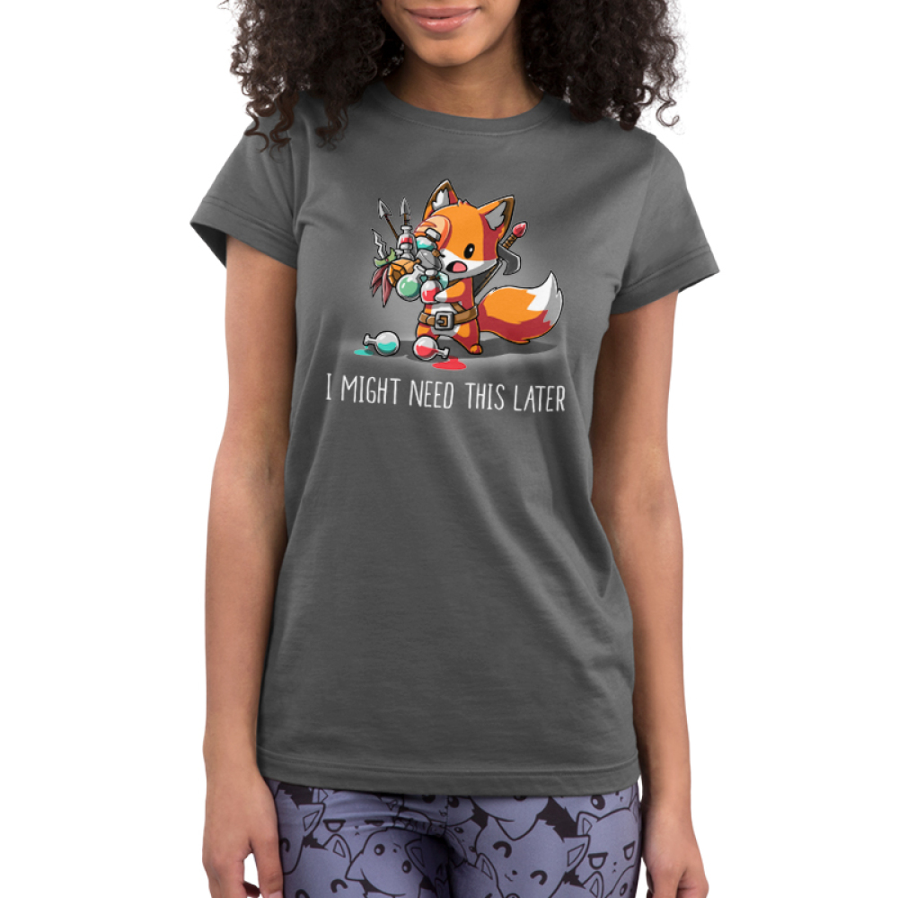 I Might Need This Later Junior's t-shirt model TeeTurtle charcoal t-shirt featuring a fox carrying tons of gaming supplies like potions, arrows, hats, and more with it all spilling out of his hands