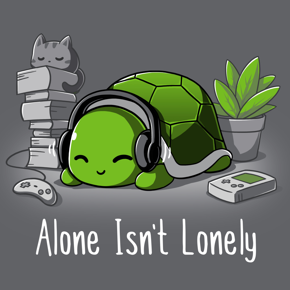 Alone Isn't Lonely t-shirt TeeTurtle charcoal t-shirt featuring a smiling turtle with head phones on surrounded by books, video games, and a plant