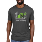 Alone Isn't Lonely Men's t-shirt model TeeTurtle charcoal t-shirt featuring a smiling turtle with head phones on surrounded by books, video games, and a plant