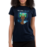 Video Games > Real Life Junior's t-shirt model TeeTurtle navy t-shirt featuring the back of a fox who is facing a TV playing video games with a bag of chips and a drink next to him