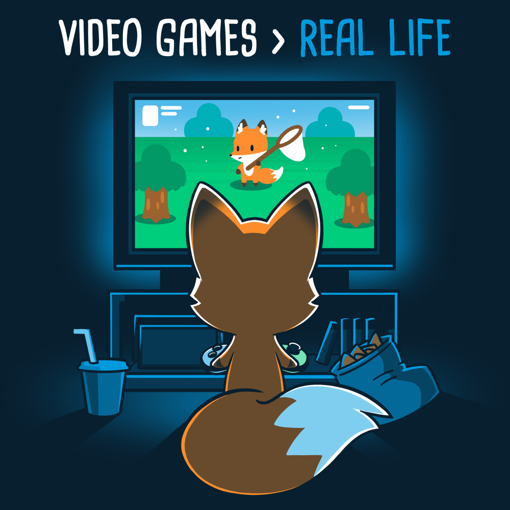 Video Games > Real Life t-shirt TeeTurtle navy t-shirt featuring the back of a fox who is facing a TV playing video games with a bag of chips and a drink next to him