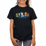Magical Animals Kid's t-shirt model TeeTurtle black t-shirt featuring a bird, lion, badger, and snake all in scarves surrounding a white unicorn in a rainbow scarf