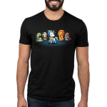 Magical Animals Men's t-shirt model TeeTurtle black t-shirt featuring a bird, lion, badger, and snake all in scarves surrounding a white unicorn in a rainbow scarf