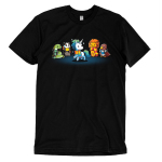 Magical Animals t-shirt TeeTurtle black t-shirt featuring a bird, lion, badger, and snake all in scarves surrounding a white unicorn in a rainbow scarf