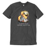Lab Attire t-shirt TeeTurtle charcoal t-shirt featuring a happy looking golden lab dog in a lab coat and safety goggles