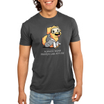 Lab Attire Men's t-shirt model TeeTurtle charcoal t-shirt featuring a happy looking golden lab dog in a lab coat and safety goggles