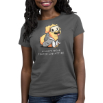 Lab Attire Women's t-shirt model TeeTurtle charcoal t-shirt featuring a happy looking golden lab dog in a lab coat and safety goggles