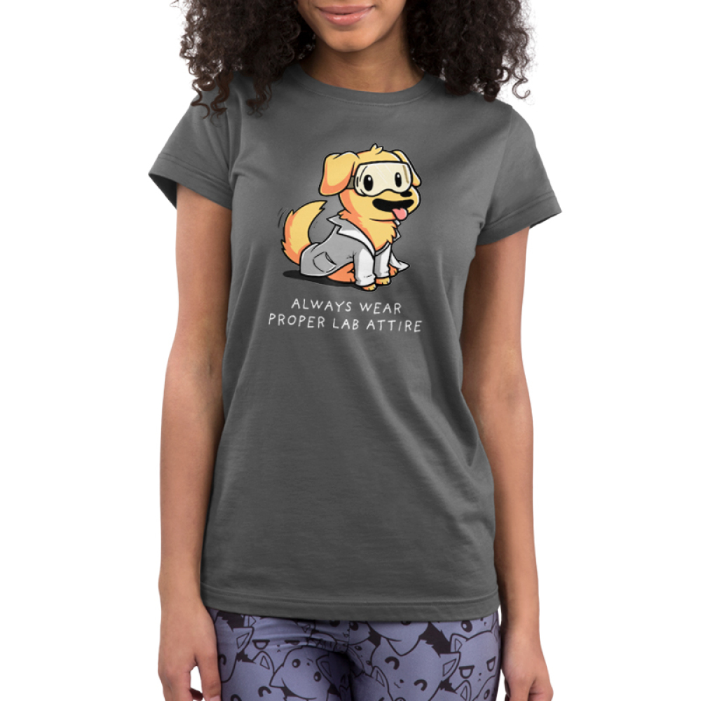 Lab Attire Junior's t-shirt model TeeTurtle charcoal t-shirt featuring a happy looking golden lab dog in a lab coat and safety goggles