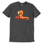 Playing with Fire t-shirt TeeTurtle charcoal t-shirt featuring an orange salamander holding a lit match