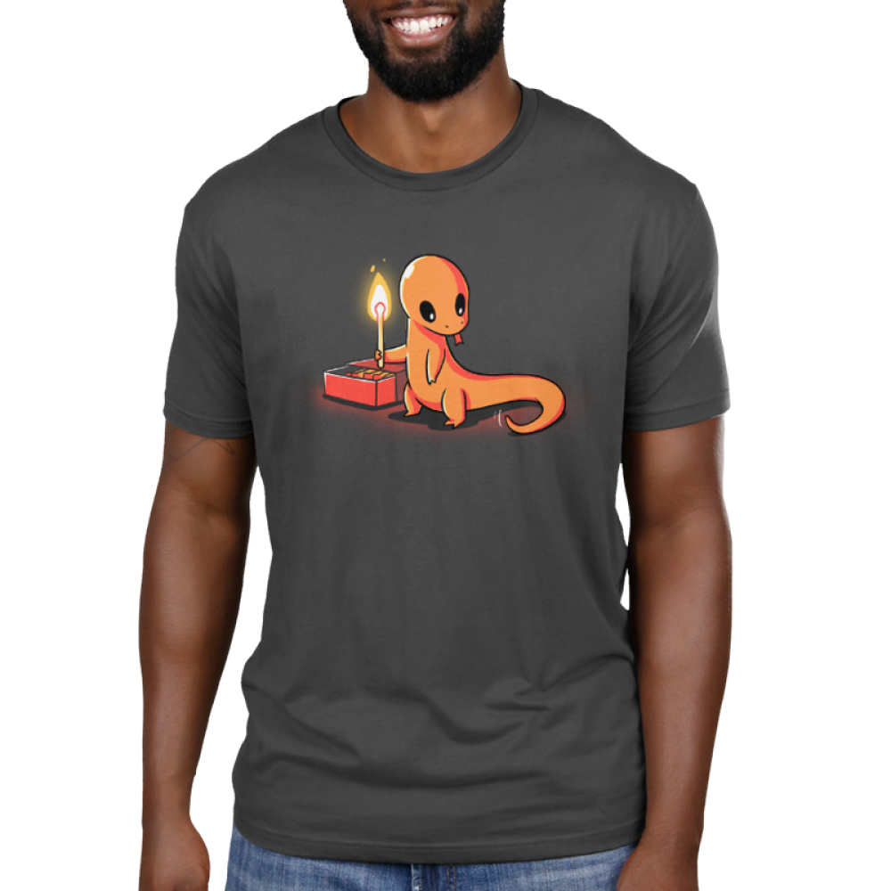 Playing with Fire Men's t-shirt model TeeTurtle charcoal t-shirt featuring an orange salamander holding a lit match