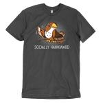 Socially Hawkward t-shirt TeeTurtle charcoal t-shirt featuring a hawk waving