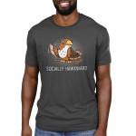 Socially Hawkward Men's t-shirt model TeeTurtle charcoal t-shirt featuring a hawk waving