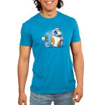BFFs (BB-8 and D-O) Men's t-shirt model officially licensed cobalt blue Star Wars t-shirt featuring BB-8 and D-O