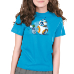 BFFs (BB-8 and D-O) Kid's t-shirt model officially licensed cobalt blue Star Wars t-shirt featuring BB-8 and D-O