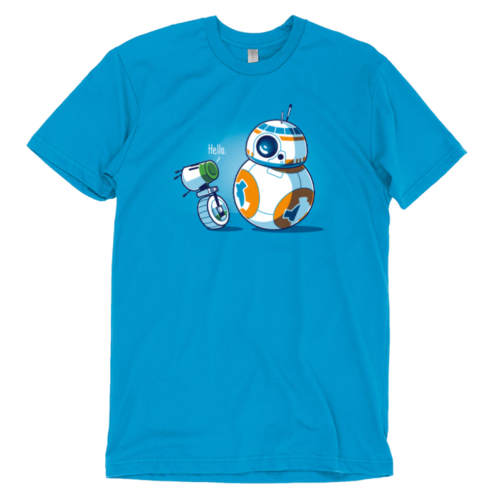 BFFs (BB-8 and D-O) t-shirt officially licensed cobalt blue Star Wars t-shirt featuring BB-8 and D-O