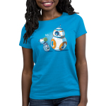 BFFs (BB-8 and D-O) Women's t-shirt model officially licensed cobalt blue Star Wars t-shirt featuring BB-8 and D-O