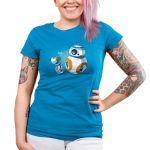 BFFs (BB-8 and D-O) Junior's t-shirt model officially licensed cobalt blue Star Wars t-shirt featuring BB-8 and D-O