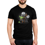 A Clan of Two Men's t-shirt model officially licensed black Star Wars t-shirt featuring the Mandalorian carrying The Child who is reaching for a little frog