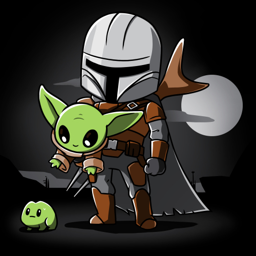 A Clan of Two t-shirt officially licensed black Star Wars t-shirt featuring the Mandalorian carrying The Child who is reaching for a little frog