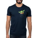 The Child in Your Pocket Men's t-shirt model officially licensed navy Star Wars t-shirt featuring The Child from The Mandalorian sitting in a pocket waving