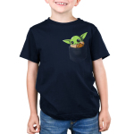 The Child in Your Pocket Kid's t-shirt model officially licensed navy Star Wars t-shirt featuring The Child from The Mandalorian sitting in a pocket waving