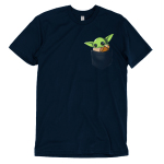 The Child in Your Pocket t-shirt officially licensed navy Star Wars t-shirt featuring The Child from The Mandalorian sitting in a pocket waving
