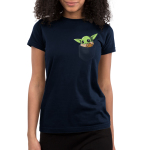 The Child in Your Pocket Junior's t-shirt model officially licensed navy Star Wars t-shirt featuring The Child from The Mandalorian sitting in a pocket waving