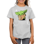 Happy Dance Kid's t-shirt model officially licensed light gray Star Wars t-shirt featuring The Child from the Mandalorian doing a dance with a heart in the corner of the design